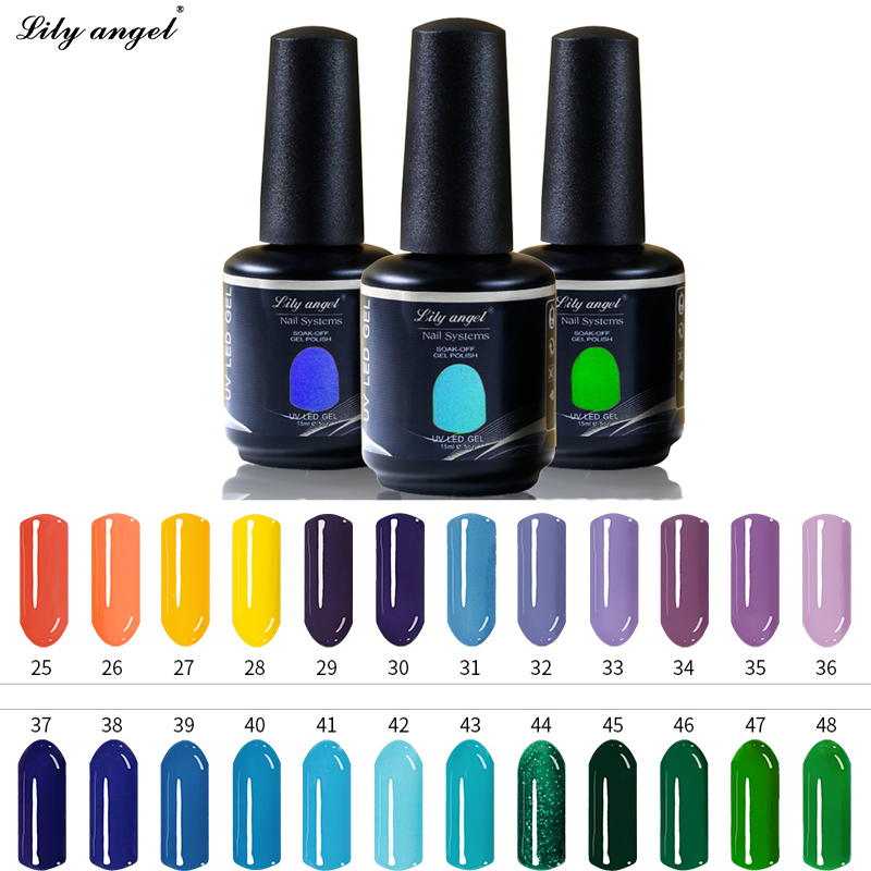 Lily angel 15ml 90 Colores magníficos disponibles Lámpara UV Soak Off UV Gel Esmalte de uñas Vernish Semi Permanent Gel Polish NO.25-48