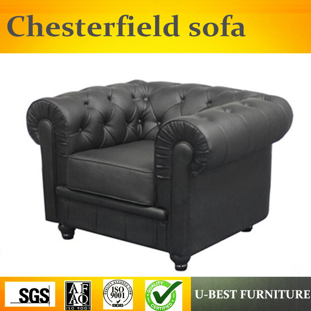 U Best American Retro Design Chesterfield Tufted Leather Rolled Arm Nailhead Single Sofa
