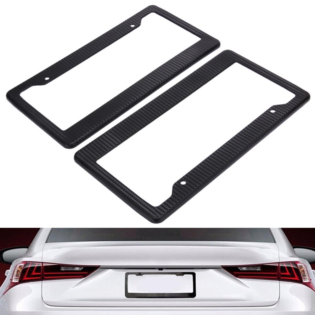2 stücke Carbon Fiber Pattern ABS Auto Kennzeichenhalter Tag Abdeckungen (Schwarz) Für Fahrzeuge USA Kanada Standard