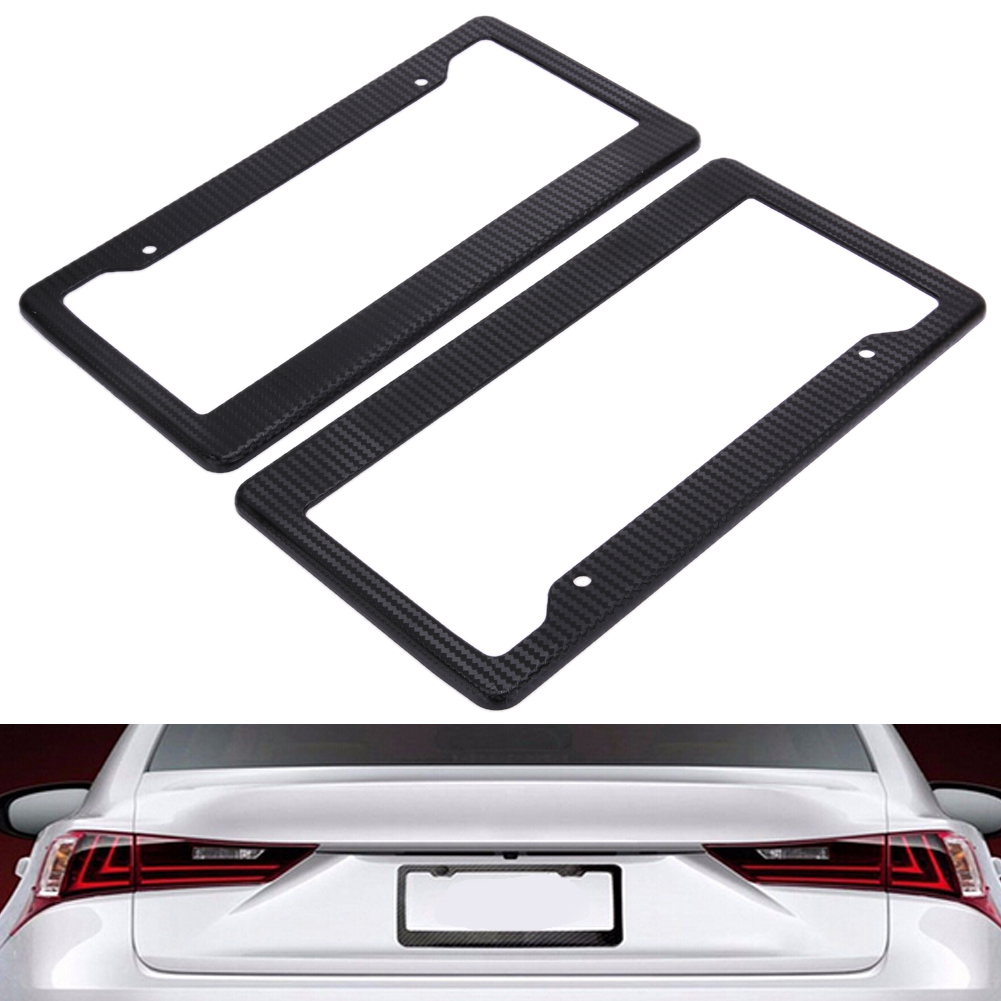 2pcs Carbon Car License Plate Frames Tag Covers Holder For Vehicles USA Canada Standard Car Styling License Plate Frame