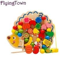 82pcs Cute beaded leketøy pinnsvin tre matte leker for barn 3 år gammel baby brinquedos wood montessori Opplærings leketøy morsomme spill