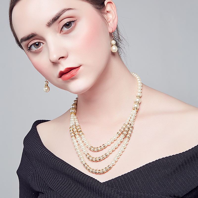 2018 fashion pearl rundell necklace earring jewelry for woman gold plating Highquality glass pearl necklace accessory wholesale in Chain Necklaces from Jewelry Accessories