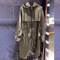 2019 Модная брендовая куртка Женская длинная куртка летняя модная куртка Высокое качество Женские повседневные куртки с капюшоном