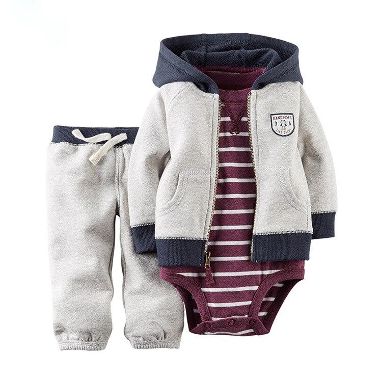 Baby Newborn Baby Girl 3 Piece Set Hoodie Zipper Full Sleeve Knit Jacket Full Tights Children's Autumn / Winter Set rib knit tights