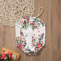 2017 Newborn Toddler Baby Girls Clothes Summer Loose Floral Cotton Sleeveless Belt Romper Jumpsuit Baby Outfits Clothes