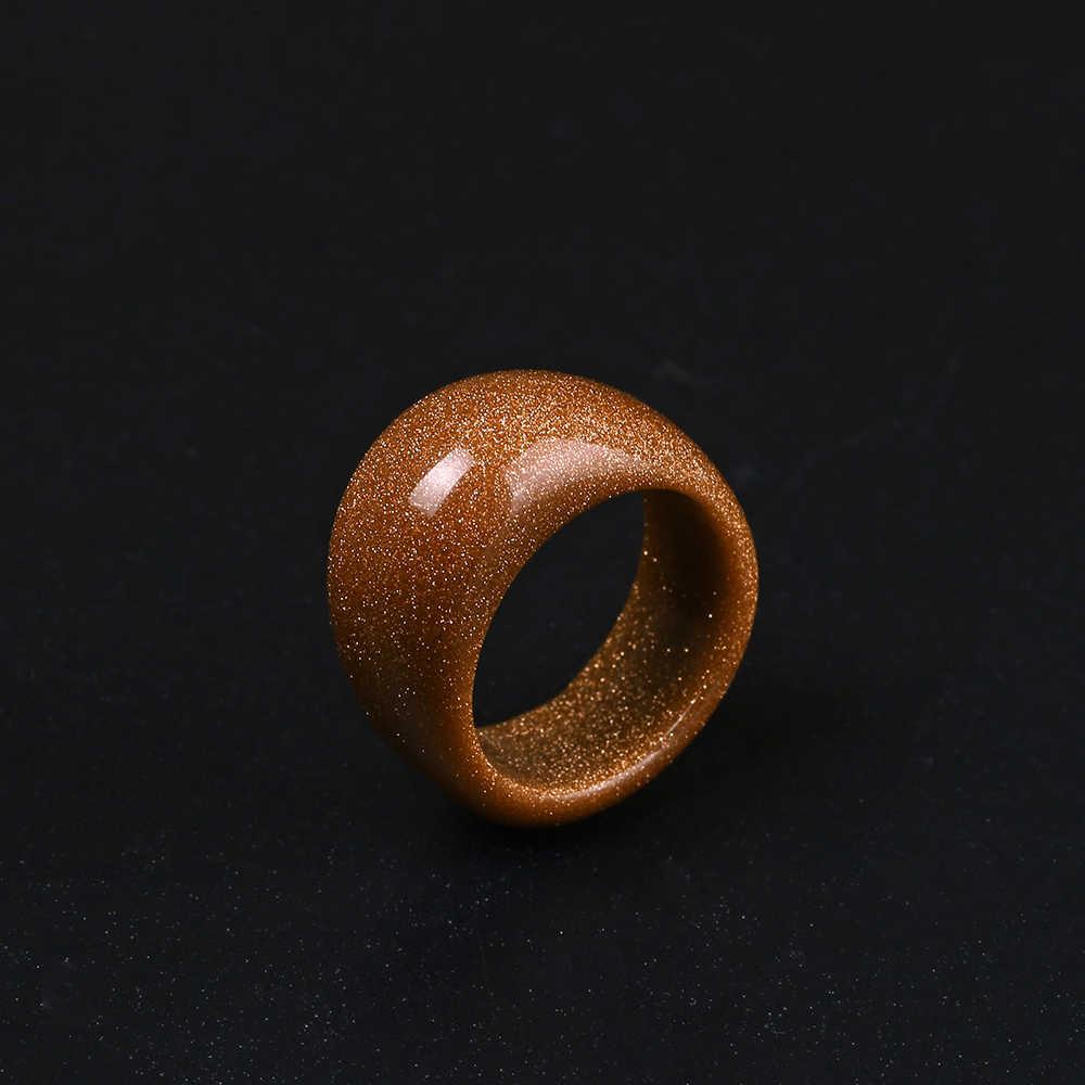 טרנדי סדיר גדול זהב חול אבן טבעת סיטונאי מבריק אצבע טבעת נוצצת זהב אבקה טבעי אבן טבעות לנשים גודל 8