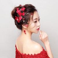 ใหม่สีแดงดอกไม้กิ๊บเจ้าหญิงดอกไม้กิ๊บอุปกรณ์ผมจัดงานแต่งงานBarrettes