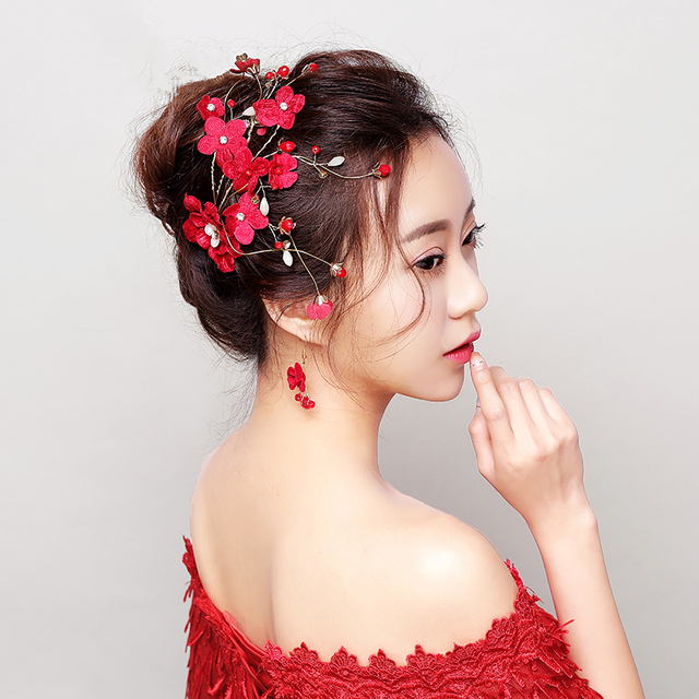 New Red Flower Hair Clip Princess Floral Hairpin Wedding Accessories Barrettes Bridal Bridesmaids Headpieces