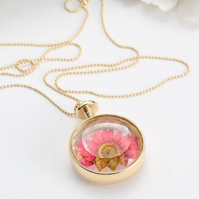 Glaskuppel Chrysantheme Glas Getrocknete Blumen Padent Halskette