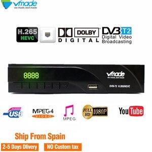 Image 1 - DVB T2 FULL HD 1080P цифровой эфирный ТВ приемник DVB T2 K6 Встроенный сетевой порт Поддержка Youtube Dolby AC3 H.265 DVB tv BOX