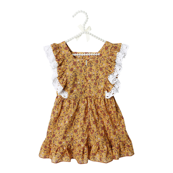 Kaiya Angel 2019 New Arrival Kids Dresses for Girls Summer Floral Square Collar Ruffle Clothes Princess Party Wedding Dress