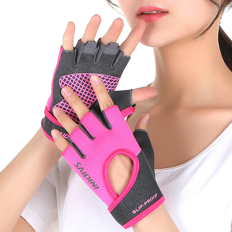 Summer Sports Fitness Half Finger Gloves Women Weightlifting Dumbbell Yoga Gym Wristband Equipment Training Non-slip Thin Hollow Office & School Supplies Fitness & Body Building