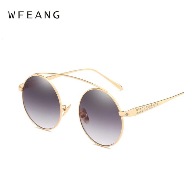 a6a70312c2d WFEANG Brand Designer Round Sunglasses Women Metal Retro Glasses Female  Shiny tinting Mirror Lens Oculos UV400