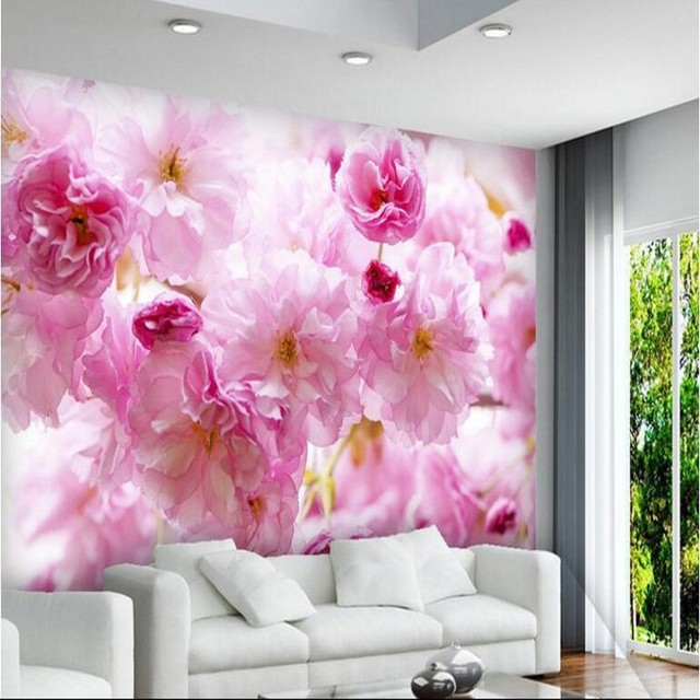 beibehang Large custom wallpaper beautiful pink cherry blossom ...