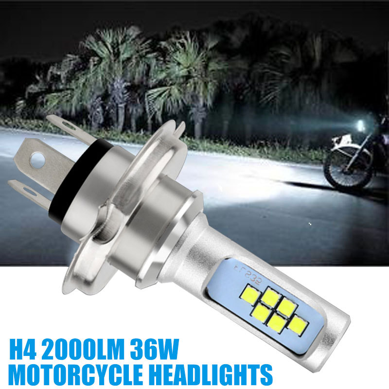 36W H4 Motorcycle Headlight LED Two Sides Light Universal Scooter Motorcycle Front Light H4 HS1 6000K 2000lm Super Bright Lamp