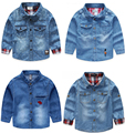 Boys Denim shirts long sleeve Kids school collar shirts chemise chemise garcon de marque camisas chicos kinder camisa menino