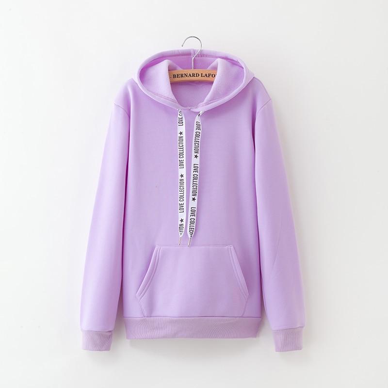 Hooded Tops Women's Sweatshirt Long-Sleeved Winter Velvet Thickening Coat 39