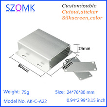 SZOMK customized extrusion aluminum material connecting Aluminum pcb instrument box case black project housing diy  24*76*80mm