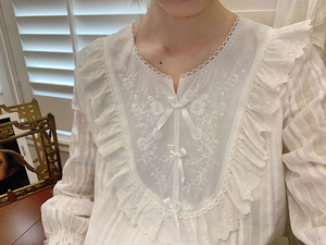 Image 4 - Womens Lolita Pajama Sets.Lace Embroidered Flowers Tops+Long Pants.Vintage Ladies Pyjamas Set.Victorian Sleepwear Loungewear