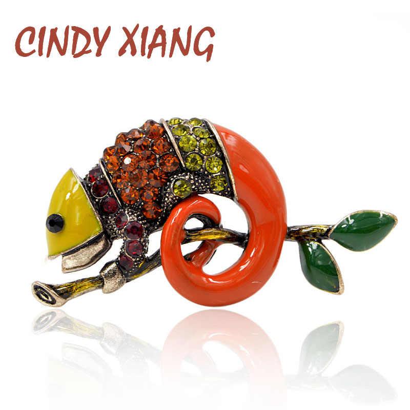 Cindy Xiang Colorful Enamel Kadal Bros untuk Wanita Berlian Imitasi Vintage Hewan Perhiasan Kreatif Jas Aksesoris Bros