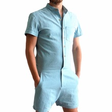 51f2d0eb3b6a Summer Romper Men Linen Shirt Short Set Single Breasted Jumpsuit Fashion Male  Overalls Tracksuit Casual Solid