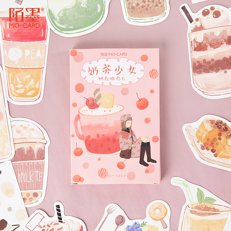 MO.Card Milk tea girl postcard greeting card Letter paper bookmark 1 lot = 1 pack = 30 pcs