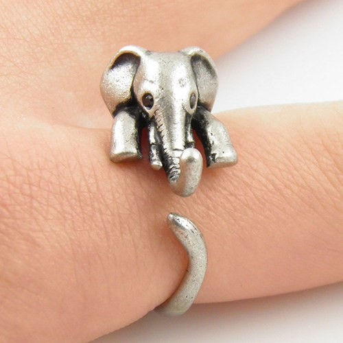 2016 New Elephant Animal Ring in Antique Silver and Bronze color for Woman Unique Rings JZ301 1