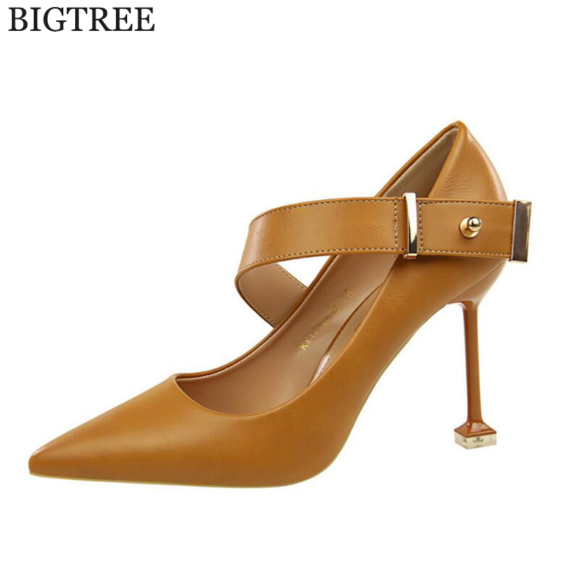 BIGTREE 2018 Women Pumps Fashion Elegant Pointed Toe High Heels Wedding Lady metal button Woman Shoes zapatos mujer tacon k624 idg brand women slip on high heels short rough with the fall and winter metal buckle rivets shoes woman zapatos mujer tacon