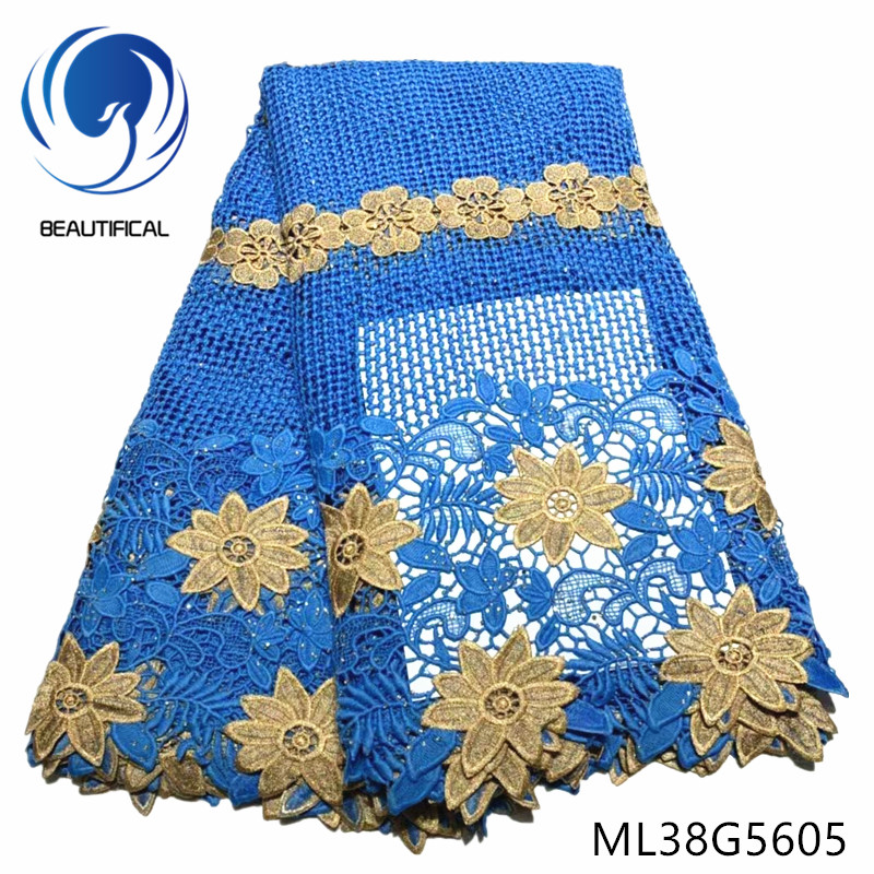 BEAUTIFICAL african cord lace fabrics water soluble lace fabric with stones for dress 5yards Fashion guipure lace fabric ML38G56BEAUTIFICAL african cord lace fabrics water soluble lace fabric with stones for dress 5yards Fashion guipure lace fabric ML38G56