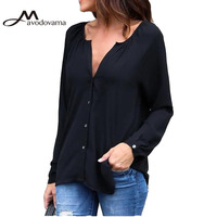 Avodovama M Women Long Sleeve Elegant V Neck Button Chiffon Blouse Shirts Female Casual Solid High