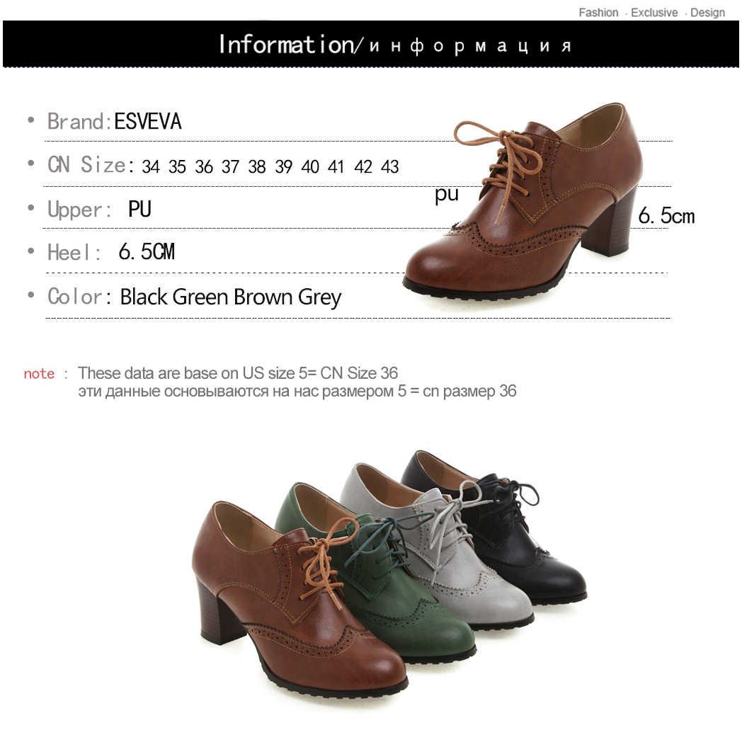 ESVEVA 2020 talon carré femmes chaussures hiver PU cuir bottines à lacets moto concis bout pointu bottes courtes taille 34-43