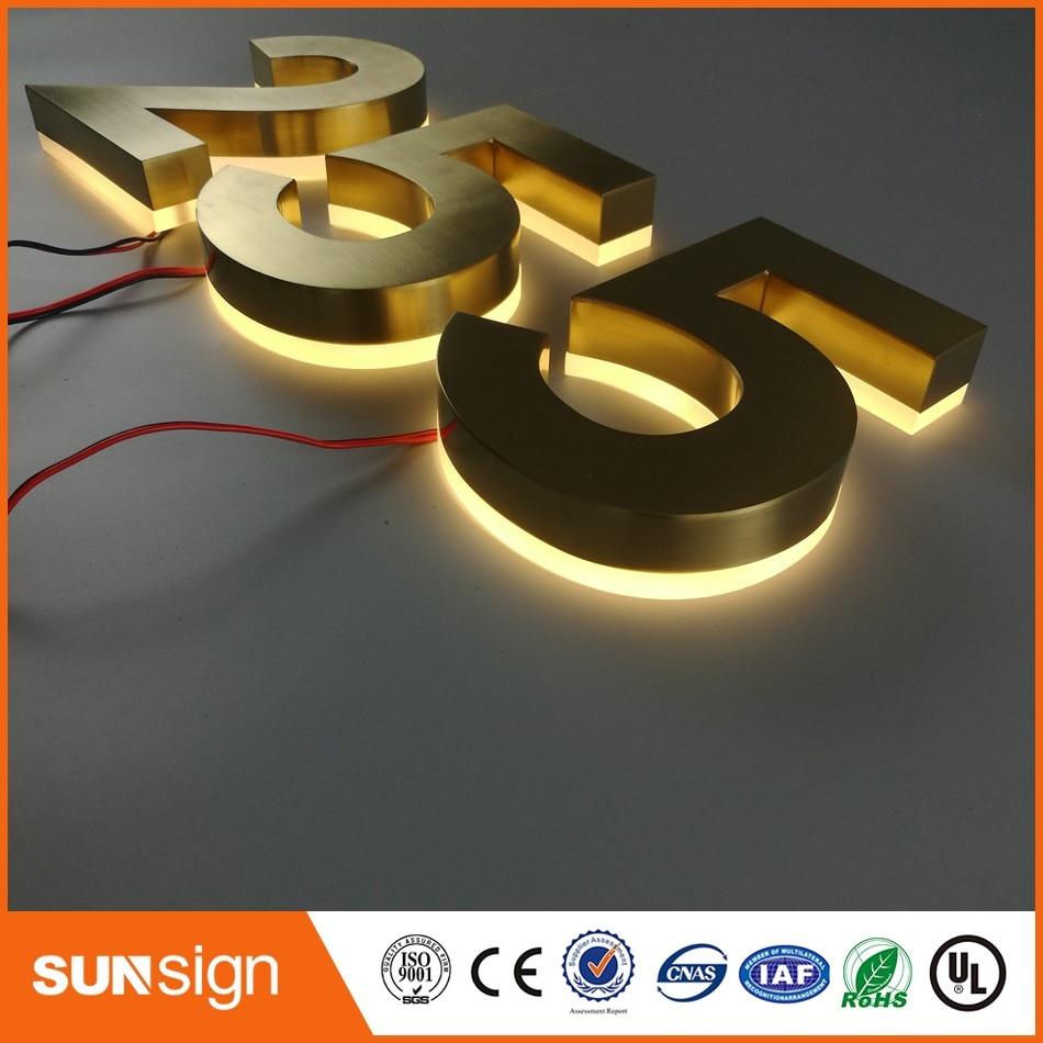 Пользовательские позолоченная отель цифровой номер Doorplate Золотой нержавеющей стали покрытием h20cm позолота LED дом номера