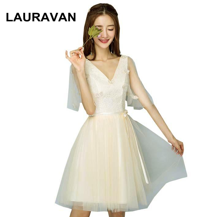 Vintage Champagne Short Country V Neck Teen Elegant Girls Bridsmaid Party Dresses Bridesmaids Ball Gown Dress For Wedding