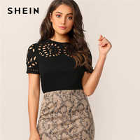 SHEIN Elegant Black Laser Cut Form Fitting Tee Solid T Shirt Women Summer O-Neck Hollow out Office Lady Workwear Tshirt Tops