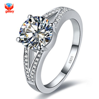 GALAXY 100 925 Sterling Silver Wedding Rings For Women Luxury 2 Carat Sona CZ Diamond Engagement