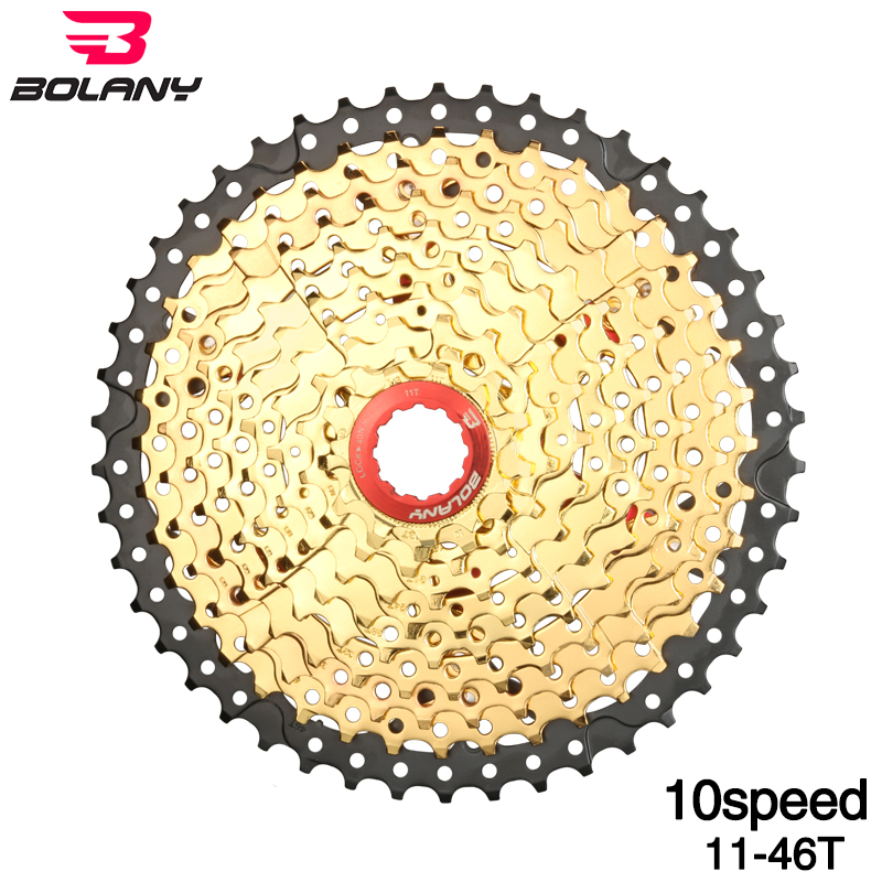 Bolany Gold Bicycle Freewheel 10S Speed 11 46T Wide Ratio MTB Bike Cassettes Sprocket Cdg Cog
