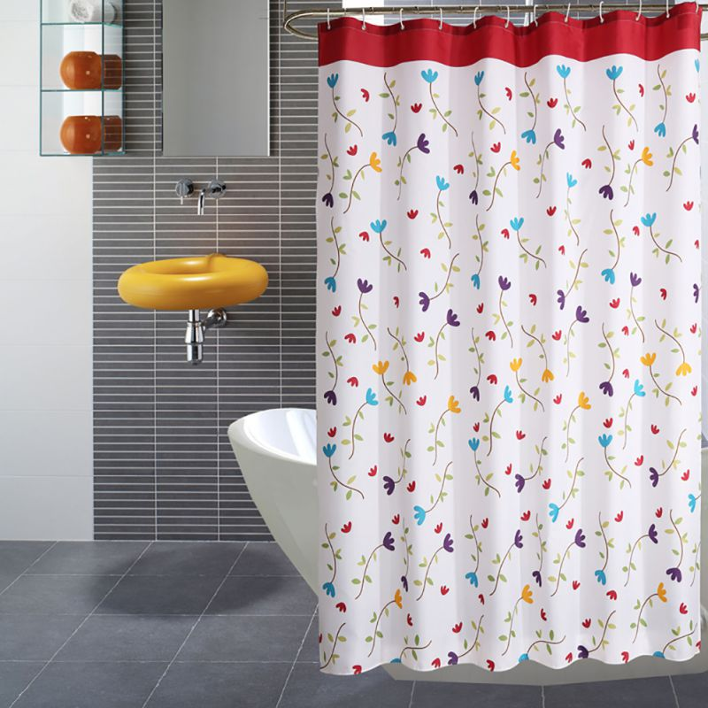 Bathroom Curtain Orchid Blooming Pattern Fabric Shower Curtains Waterproof Non-mildew Curtains With Hooks