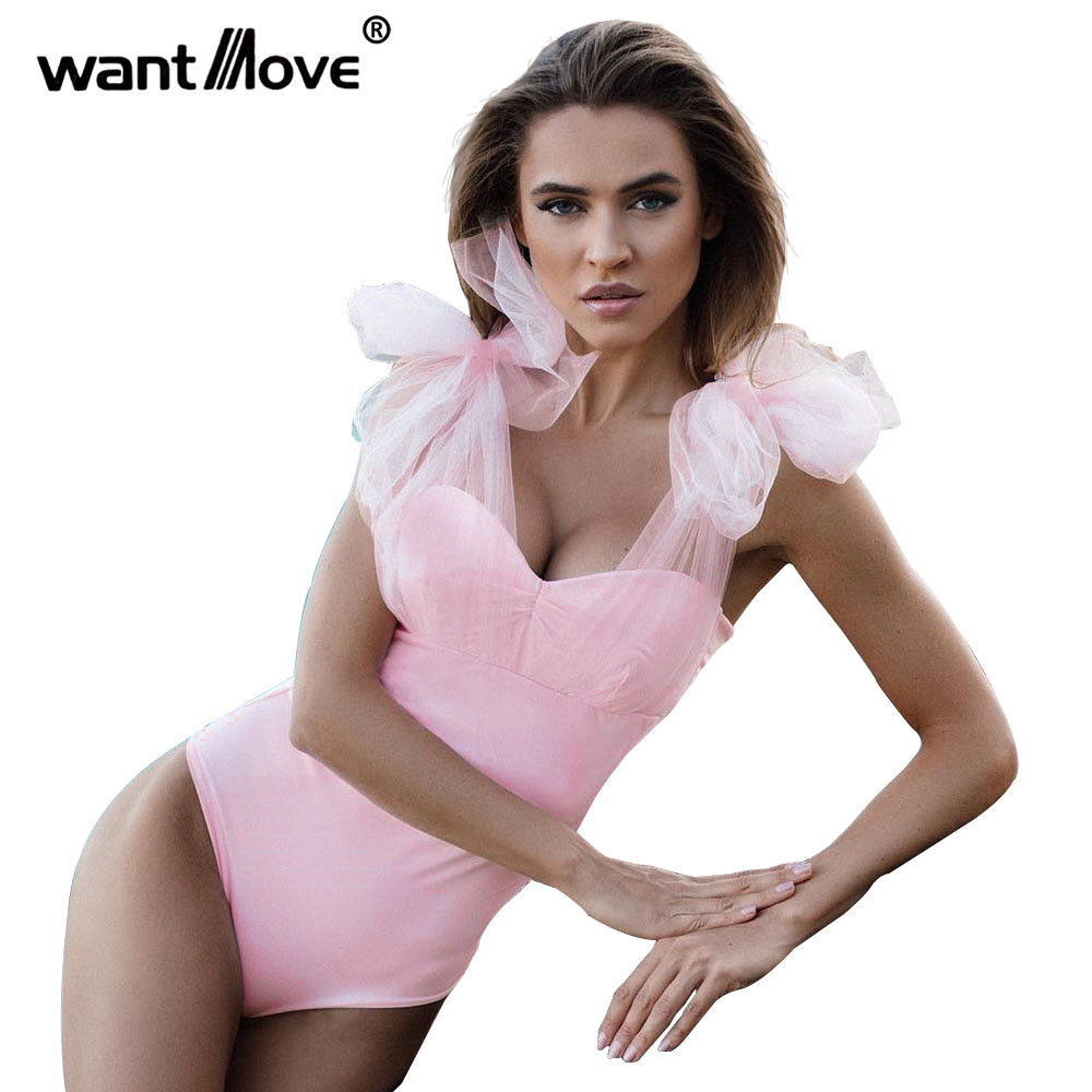 Dutiful Wantmove Womens Summer Sexy Soild Slim Tight Stretchy Backless Chiffon Bandage Spaghetti Strap Beach Swimsuit Playsuits Wm265 A Wide Selection Of Colours And Designs Women's Clothing
