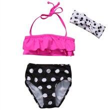 Kids Swimwear Girls Bikini Suit Set Swimsuit Two Piece Swimwear Polka Dot Print High Waist Bathing Suit Swimming Clothes