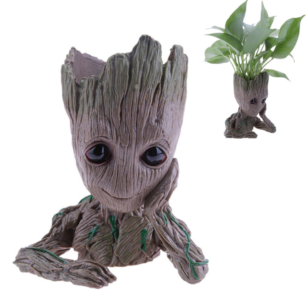 Hot Baby Groot Flowerpot Flower Pot Planter Action Figures Toy Tree Man Cute Model Toy Pen Pots Gift