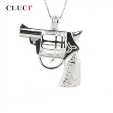 CLUCI 925 Sterling Silver Revolver Shaped for Women Necklace Fine Jewelry Gun Charms Pendant Real Silver 925 Pearl Locket(China)