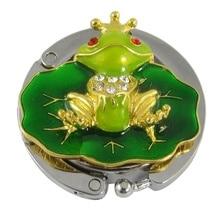 Hook-Holder Purse-Bag Handbag Hanger Cute Frog Green Folding-Bag Leaf Tone Gold