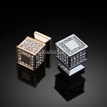 European Luxury 2PCS Inlaid Crystal Furniture Handles Cupboard Wardrobe Drawer Wine Cabinet Pulls and Knobs Chrome/Gold