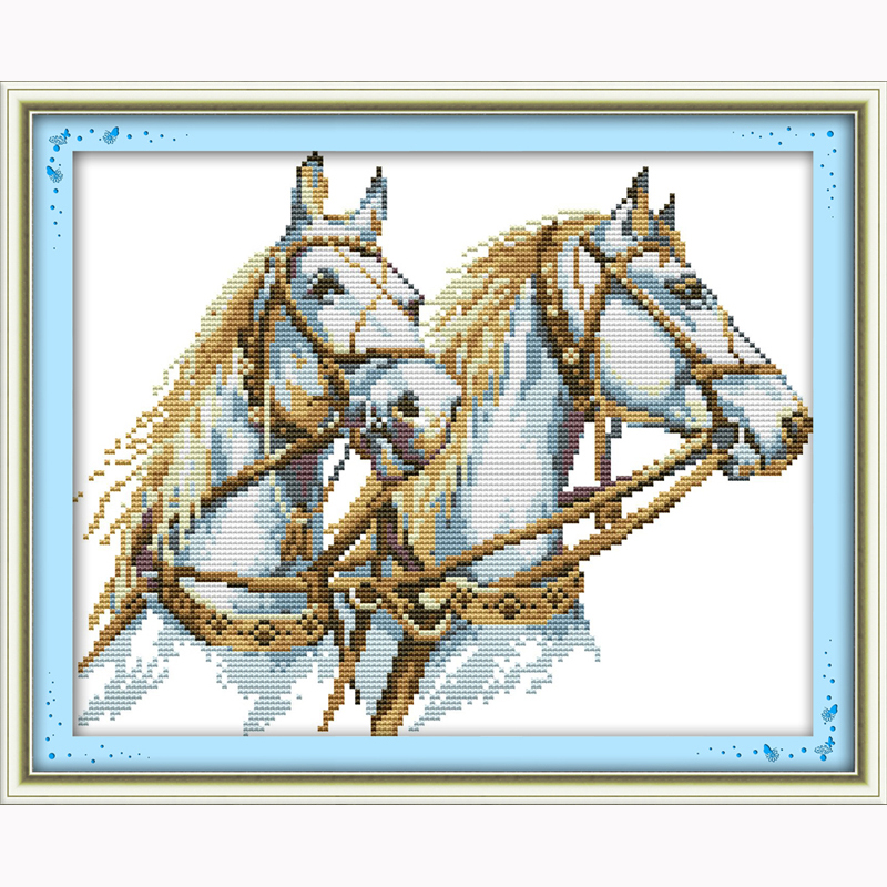 Two horses Counted Cross Stitch Kits For Embroidery DIY Needlework 14CT DMC Cross Stitch Patterns Crafts animal cartoon patterns