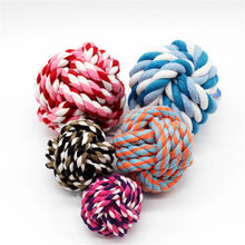 Funny Cotton rope Dog Toy Baby Dog Cat Toys 5 CM Rainbow Durable Cotton rope Play Balls For Pets Toys(China)