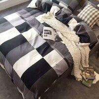 Европейское и американское классическое черно белое клетчатое хлопковое постельное белье королевского размера набор постельных принадле