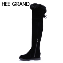 HEE GRAND Over-The-Knee Boots Rabbit Fur Zip Flock Winter Women Boots Slim Inner Height Increasing Platform Shoes Woman XWX3557