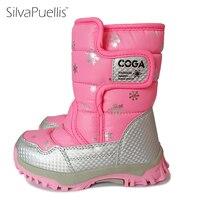 BAIJIAMI New Design Children Snow Boots Soft Leather Kids Girl Boy Warm Mid Calf Winter Boot