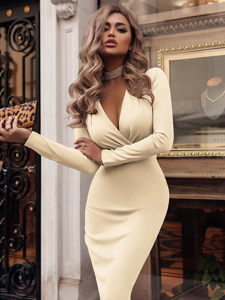 Diwish V neck Dress 2019 Autumn Sexy Knee Length Long Sleeves Dresses Solid Club Casual Fashionable Elegant Women Dress in Dresses from Women 39 s Clothing