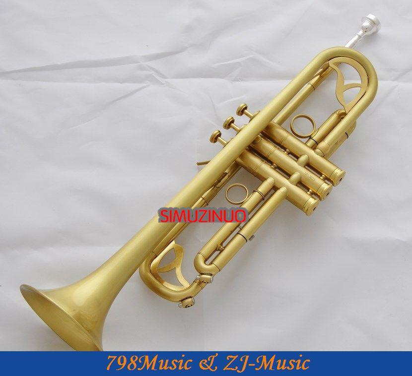 Matt Brass trompethoorn monel ventielen met 2 mondstuk lederen tas